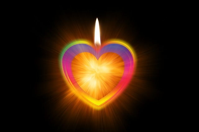 candle flaming heart